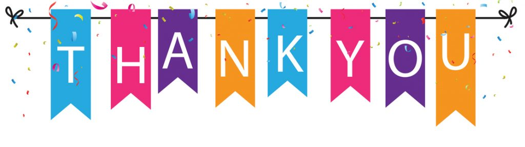Vector Illustration of Thank you sign with colorful bunting flags and confetti background